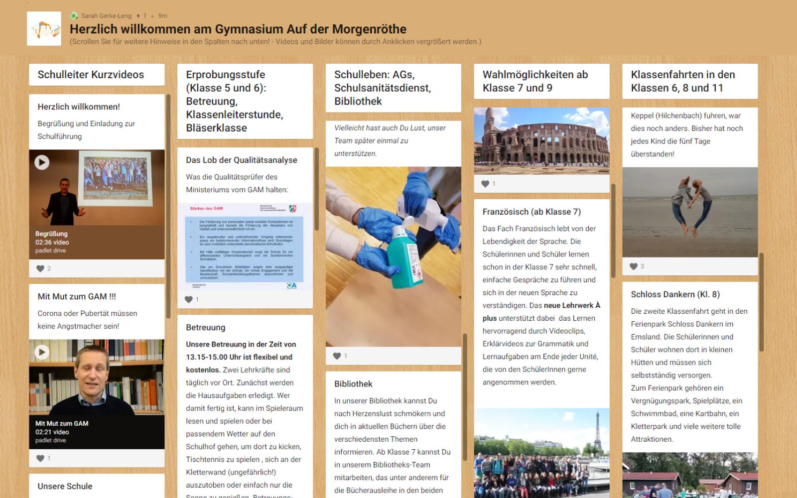 Unser Padlet mit Informationen für Viertklässler ist online
